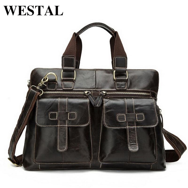 WESTAL Business Men Briefcase font b Handbags b font Genuine font b Leather b font Men