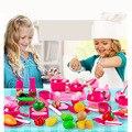 Hot 46 unids/set cocina Kids play juguetes de Frutas vegetales Ollas Niños Sartenes Platos juego de corte de Alimentos Envío Libre