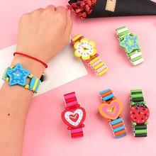 Random Color 3pcs Fashion Cartoon Wooden Watch Sports Brand Bracelet Wrist For Children Hot Sale Baby Gift Student
