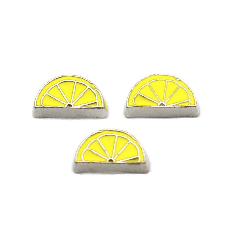 New Arrived 10pcs/lot Metal Floating Charms Jewelry Enamel Lemon Slice Silver Charms For Living Glass Lockets Necklace Bracelet