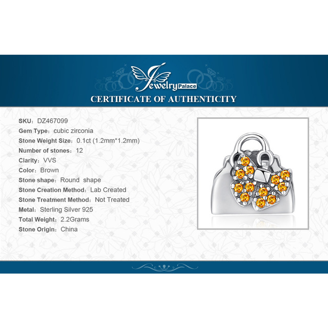 JewelryPalace Accessories Love Handbag 0.1ct Yellow Cubic Zirconia 925 Sterling Silver Charm Beads For Women 2018 New Hot Sale