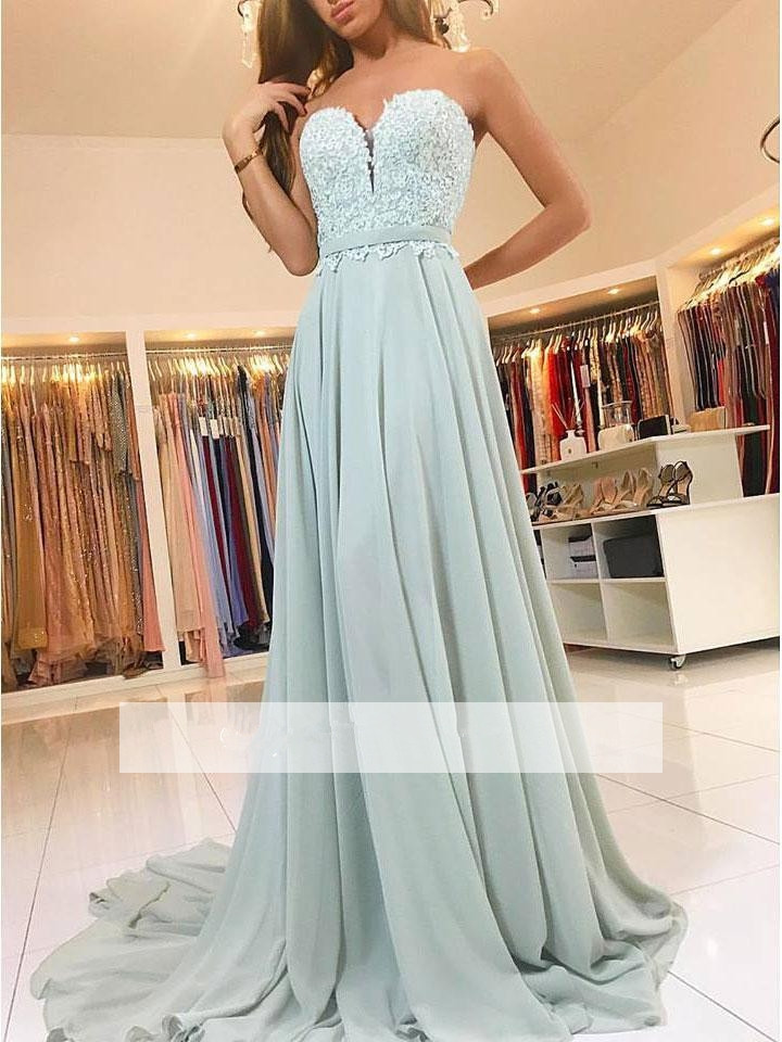 2019   Prom     Dresses   A-line Sweetheart Chiffon Lace Beaded Backless Party Maxys Long   Prom   Gown Evening   Dresses   Robe De Soiree