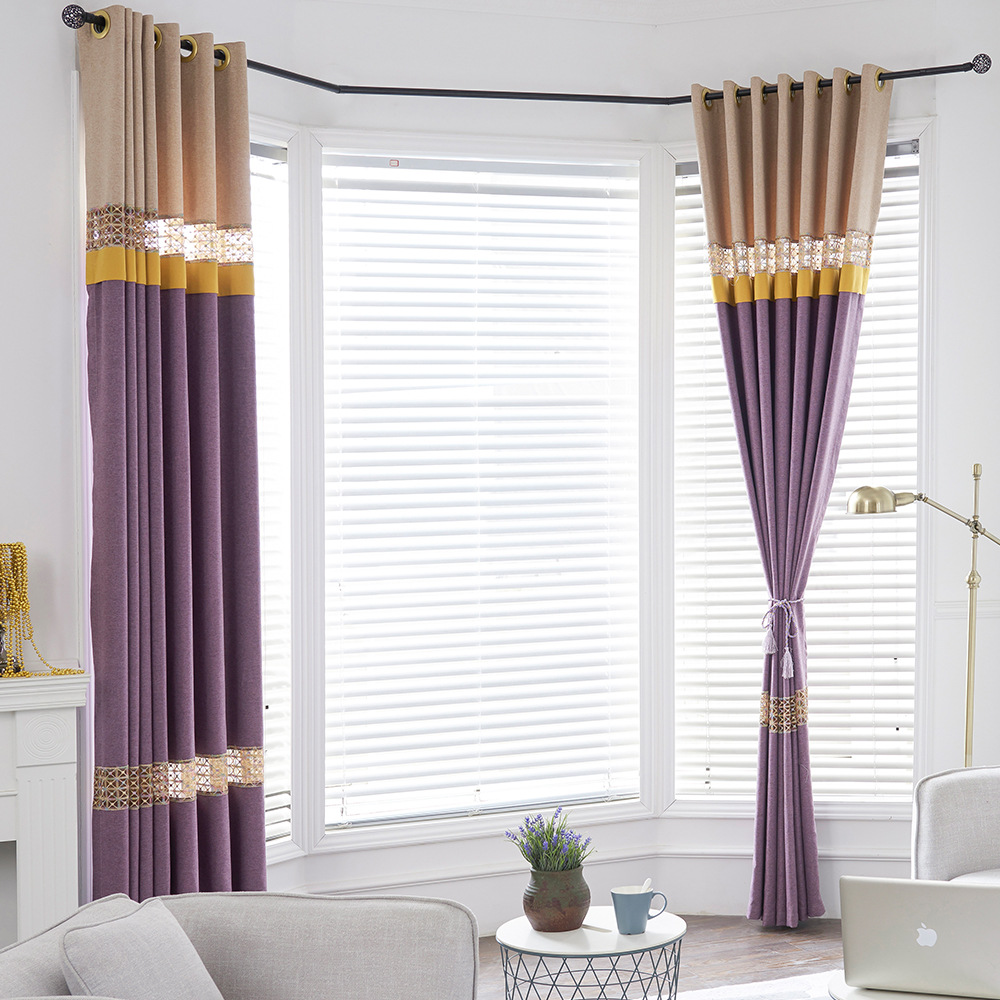 Fashion Simple Modern Embroidered Splicing Blackout Curtains Cloth For Living Room Window Curtains Cortinas