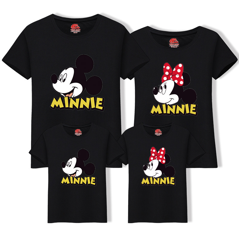 6e692fd84e7421 Família Roupas Combinando Camisetas Mãe e Filha Roupas Amantes Família Olha  Mamãe Pai Dos Desenhos Animados Mickey Minnie Impresso Tops