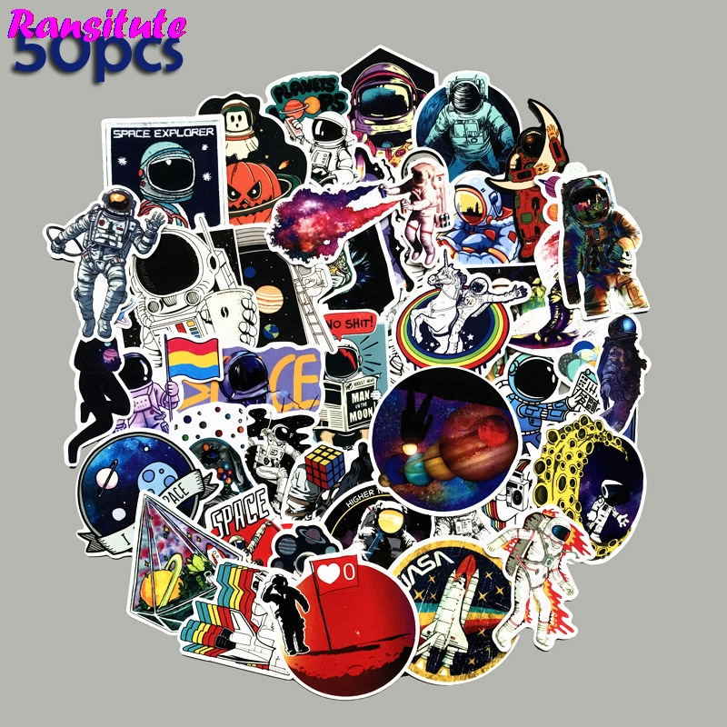 50pcs/set Universe Space Astronaut PVC Waterproof Fun Sticker Toy Luggage Sticker Motorcycle And Suitcase Notebook Sticker