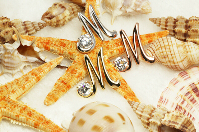 The Letter M Set Zircon Color Plating Pendant Necklace Female Can Match With Different Styles