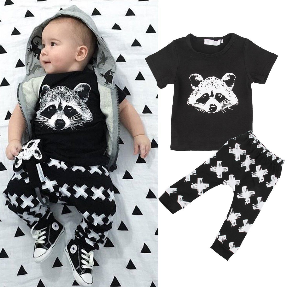 2PCS Causal Kids Baby Boy Clothes Top Shirt with Trousers Sports Pants Outfit