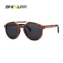 SHINU Brand Designer Wood Sunglasses Women Men Polarized Driving Pilot Eyewear Lentes De Sol Mujer Flex Wooden Frame Eyeglasses