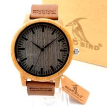 Bobobird A18 Nueva Vendimia de La llegada De Bambú Redondo De Madera de Cuarzo Relojes Con Bandas de Cuero Para Mujer Para Hombre relojes de primeras marcas de lujo