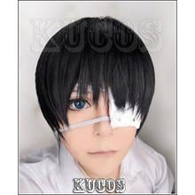 Короткие черные парики для косплея Tokyo Ghoul Ken Kaneki + повязка на глаза + шапочка для парика