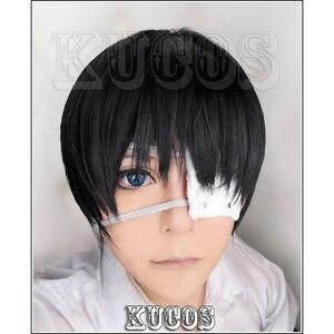 Image 1 - Короткие черные парики для косплея Tokyo Ghoul Ken Kaneki + повязка на глаза + шапочка для парика