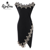 AZULINA Plus Size 5XL Flower Embroidered Trim Bodycon Dress Women Dresses Robe Summer Office Ladies Boat