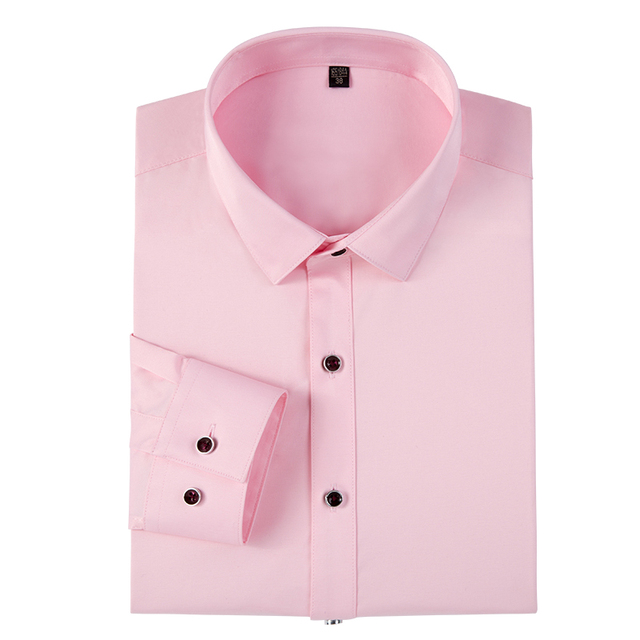 Men's Long Sleeve Basic Design Solid Dress Shirt Standard-fit Formal Business Work Office Social Pink Tops Shirts