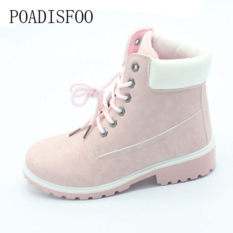 2017 women's Boots Square heel Ankle Boots Lace-Up Boots  Round Toe Big size Martin boots .XZ-07 2017 embellished sweety girl love pink peach women martin boots short shoe ankle lace up crystal sequins flat round toe shoe