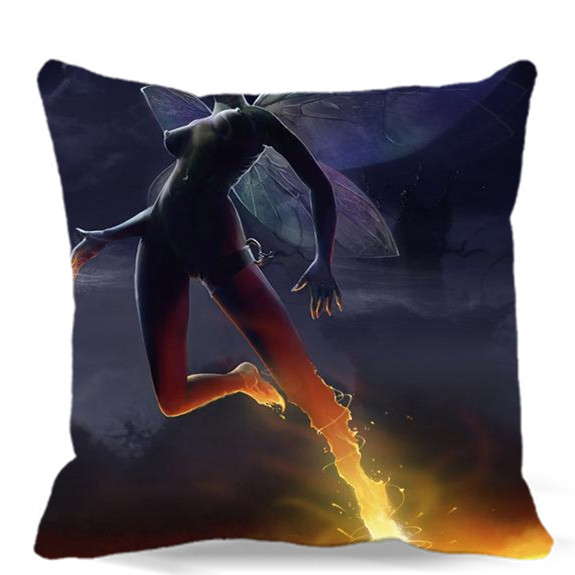 sofa box cushion covers black chaise ヾ ノsuperpowers girl with war illustration square superpowers cover cotton polyester bedroom chair car seat 16 18 20 inches 9 style