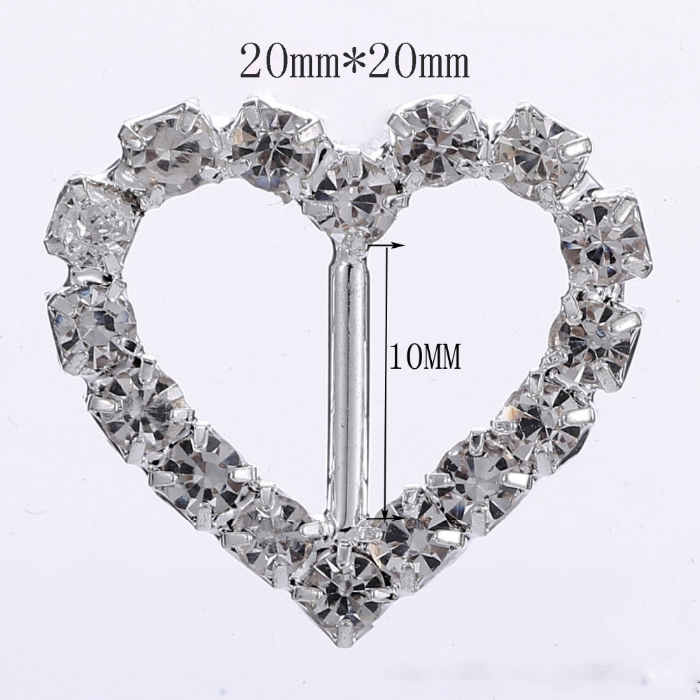 100pcs/ Heart Rhinestone Buckles / Ribbon sider for craft supplies Hair accessories Wedding Invitation Card DIY Decorativds
