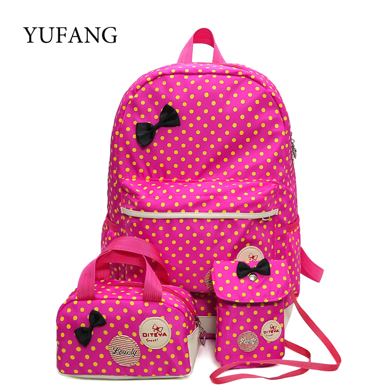 School Bags For Girls Children Backpacks Dot Printing Bow Princess Toddler Backpack Kids Bag Schoolbag Mochilas