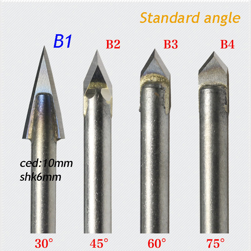 1pc Ordinary Angle Alloy Router Bits CNC Engraving Cutter Stone Carving Tools Standard