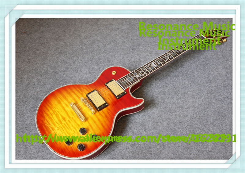 New Arrival China 24 Frets CS Cherry Sunburst Finish LP Electric Guitars With Solid Mahogany Guitar Body For Sale new arrival lp standard electric guitar left hand red sunburst with yellow binding