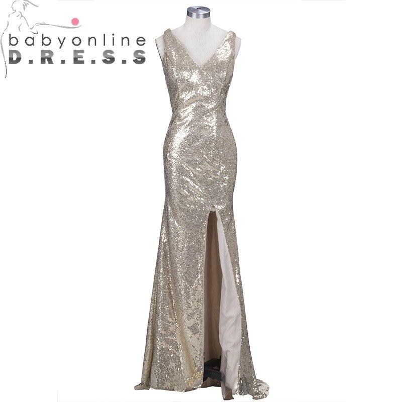 Elegant V Neck Sequined Mermaid   Prom     Dresses   Shinny High Slit Criss Cross Back   Prom   Gown Vestido De Festa Longo