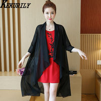 Big Yards Dress Chiffon Dress Sleeve Female Summer Two Piece Set In The Embroidery Loose The