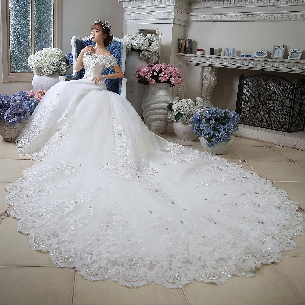 Cathedral Length Train Wedding Gowns: Luxury Beaded Sequins Bodice Boat Neck Floor Length White