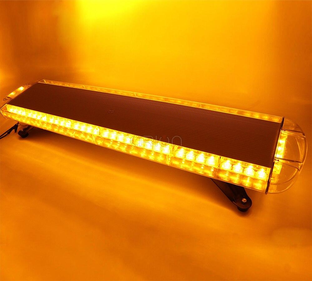 72W Amber COB LED Car Beacon Strobe Traffic Emergency Warning Light Bar 12V-24V