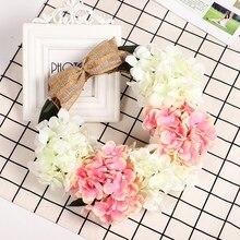 Wedding Decoration Rattan Artificial Hydrangea Flower Door Hanging Wreath Garland Decorations For Home Party Spring
