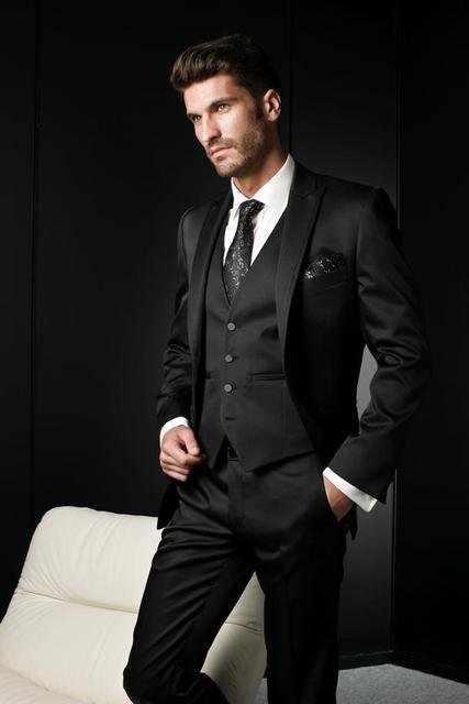 Italiano de Lujo Trajes de novia negro Para Hombre Pantalones de Hombre  Vestido Formal Traje de f671a4c1439
