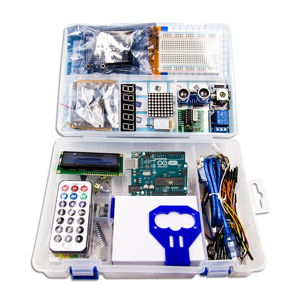 Arduino diy kit avec Uno R3/1602 LCD/cavalier/HC-04/SR501/planche à pain ARDUINO starter kit + Mode D'emploi