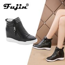 FUJIN/Брендовые женские ботильоны; Зимняя Теплая Обувь На Шнуровке; Женская обувь из искусственной кожи; Удобная женская обувь