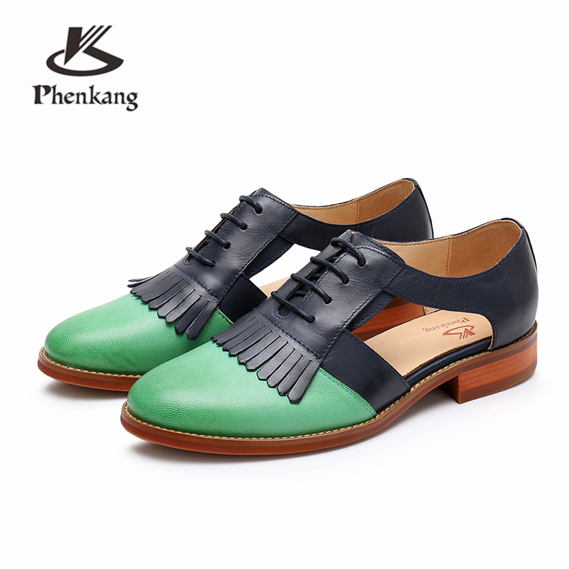 Genuine leather brogues yinzo woman Sandals flats shoes vintage handmade sneaker oxford shoes for women 2018