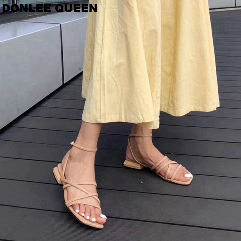 2019 New Summer Women Sandals Narrow Band Gladiator Sandal Wooden Heel Female Flat Heel Casual Shoe Buckle Strap Sandalias Mujer