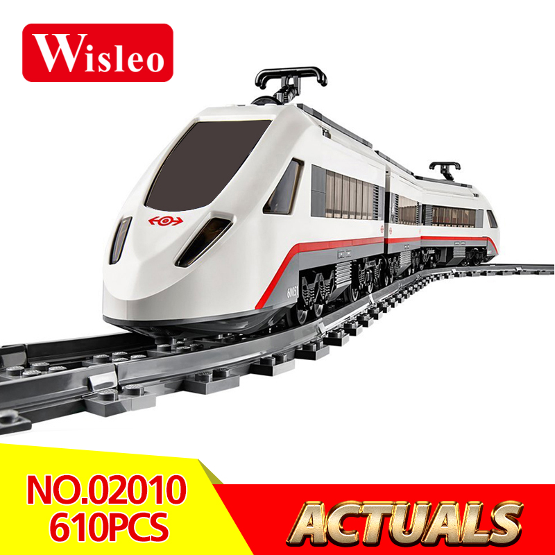 Wisleo 02010 610Pcs Creator High-speed Passenger Train Remote-control Trucks model Building Blocks Bricks Toys LegoINGlys 60051 lepin 02010 610pcs city series building blocks rc high speed passenger train education bricks toys for children christmas gifts