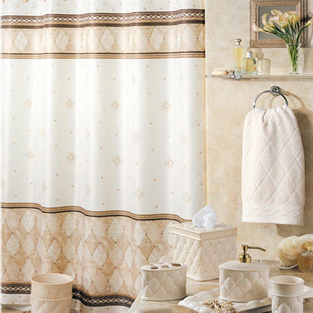 Corinthia Beige Diamond Shower Curtain,Mildew Resistant Polyester Fabric,Print for Bathroom,Contemporary Decorative Waterproof