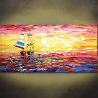 Handpainted Knife Seascape Oil Paintings Modern Home Decor Wall Art Pictures Colorful Ocean Sailboat Landscape Canvas Painting