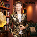 2017 New Arrival Europeia Moda Ouro Mens Floral Blazer Masculino Projetos Blaser Terno Do Casamento Blazer Slim Fit Plus Size M-4XL