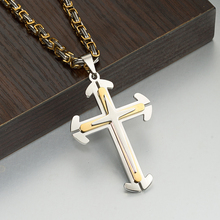 Gold Silver Christian 4mm Byzantine Cgain Stainless Steel Pendant Necklace for Men Fashion Jewelry Crucifix Jesus Cross pendant stylish christian cross w eye style decoration pendant necklace silver