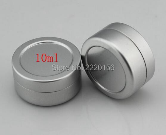 Free Shipping 100pcs/lot 10g empty round aluminum lip balm tins,10ml silver metal cosmetic jar container,10cc cream jar bottle