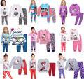 Niños chicas chicos sistemas de la ropa de invierno de los niños que arropan hello kitty gato de la manera pijamas ropa de bebé girls boy cartón conjunto