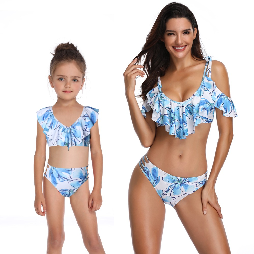 mother daughter swimwear mommy and me bath swimsuits family look sexy beach bikini clothes mom mum baby matching dress clothing Спортивный бальный танец