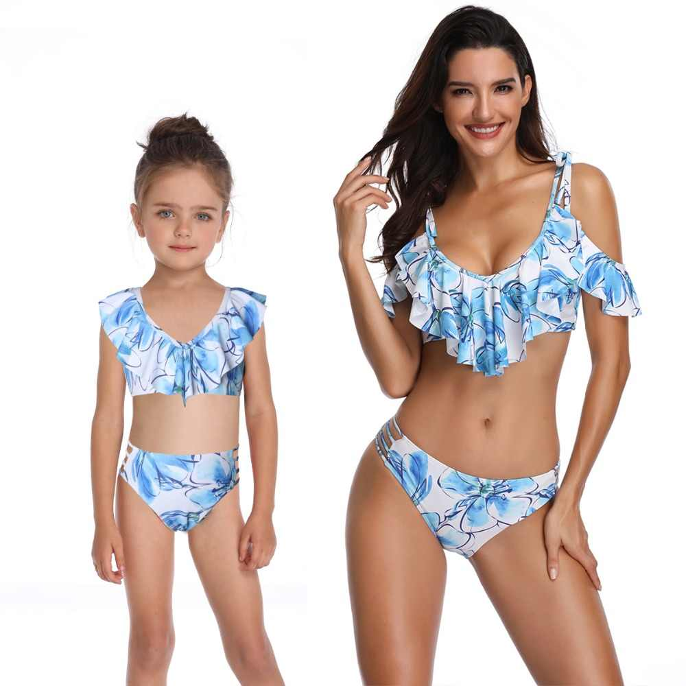 bca0da59eb mother daughter swimwear mommy and me bath swimsuits family look sexy beach  bikini clothes mom mum