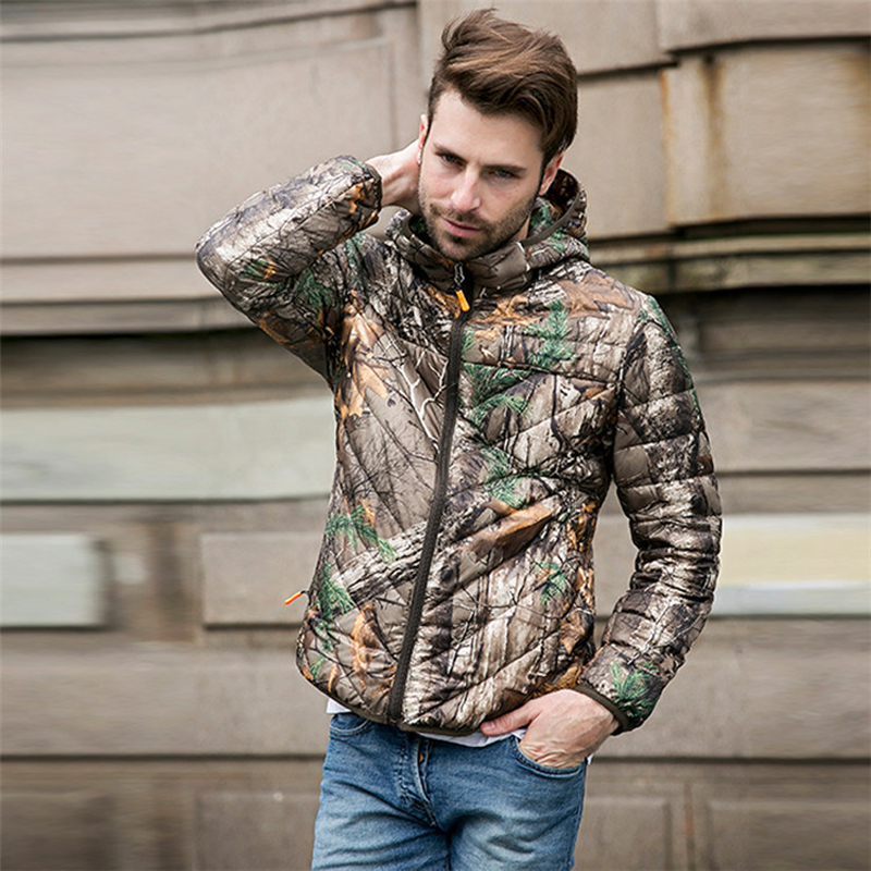 0d34076ef321 NEW Autumn Winter Duck Down Jacket men short hooded bionic camouflage coat  Ultra Light Thin plus size Mens Outerwear coat-in Down Jackets from Men's  ...
