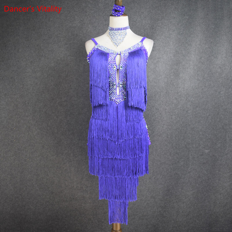New Style Latin Dance Costume Sexy Senior Stones Tassel Latin Dance Dress For Women Latin Dance Competition Dresses S-4XL