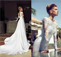 2015 Sexy Lace Sheer Neck Garden A-Line Wedding Dresses Backless Long Sleeve Cathedral Train Vintage High Neck Bridal Gown