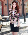 2016 spring new printing lady small suit leisure female short paragraph jacket