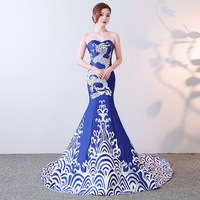 Elegant Blue Porcelain Chinese Sexy Traditional Oriental Evening Dress Women For Wedding Party Backless Cheongsam Free Custom