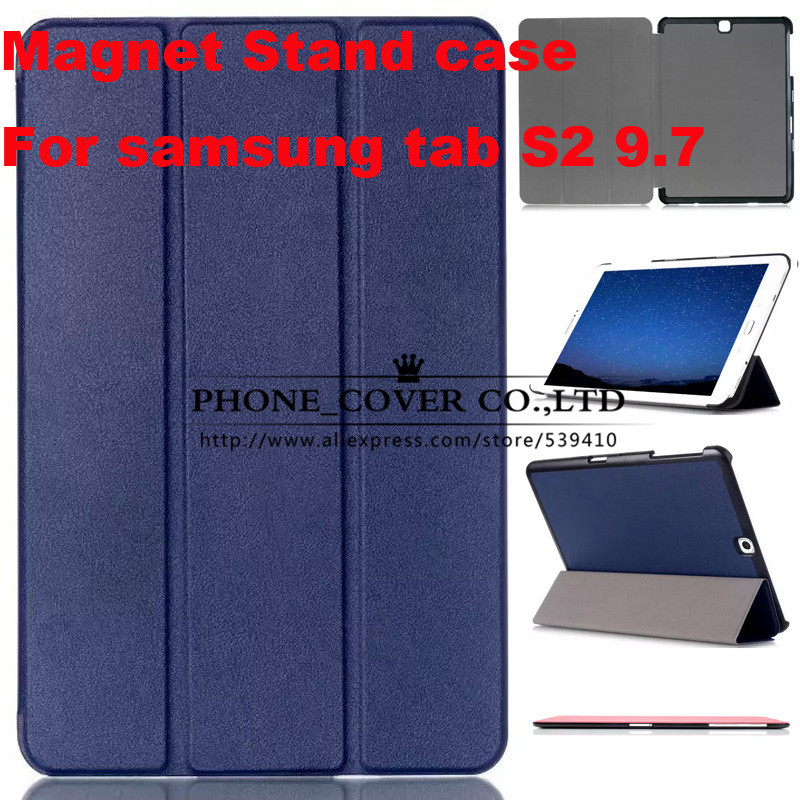 Magnetic Stand pu leather Case cover For Samsung Galaxy Tab S2 9.7 T815 SM-T810 T810 tablet cases + screen protectors +stylus