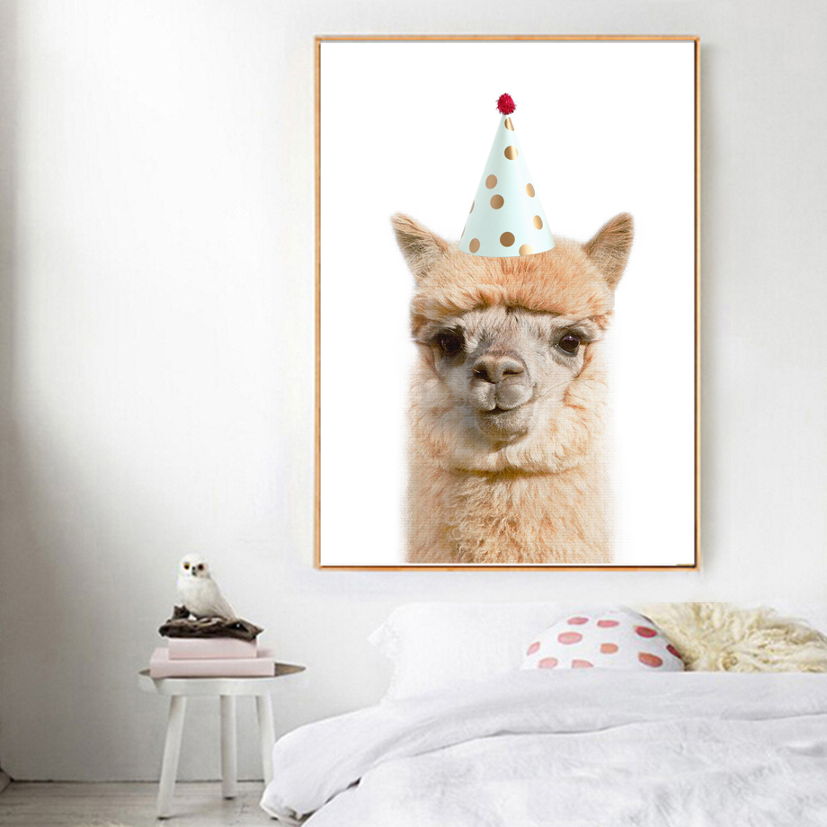 Llama Raccoon Fox Cap Wall Art Canvas Painting Nordic Posters And Prints Animal Wall Pictures For Living Room Bedroom Home Decor in Painting Calligraphy from Home Garden