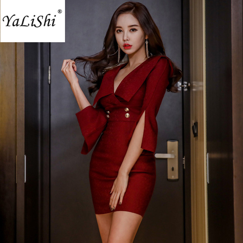2018 Spring Dresses Red Flare Sleeve V Neck Women Dress Office Bandage Bodycon Vintage Sexy Party Mini Package Hip Dress Vestido